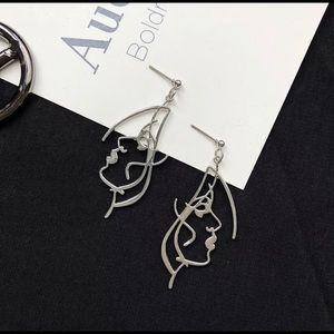 Human Face drop earrings /silver